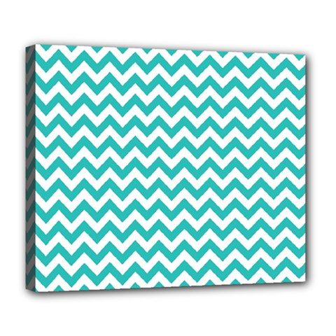 Turquoise And White Zigzag Pattern Deluxe Canvas 24  x 20  (Framed)