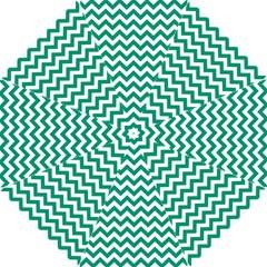 Emerald Green And White Zigzag Pattern Hook Handle Umbrella (medium)