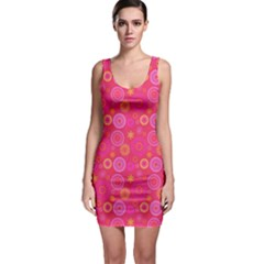 Neon Pink Concentric Circles Bodycon Dress