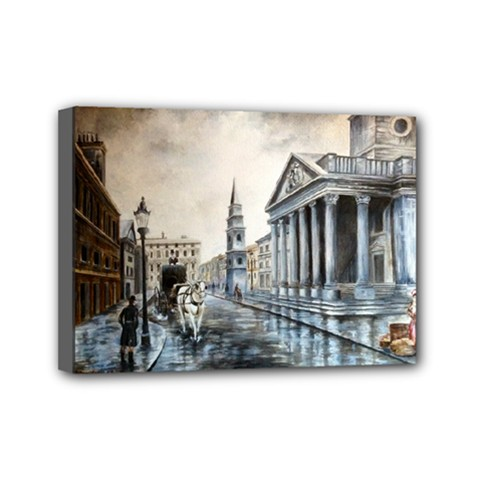 Old London Town Mini Canvas 7  X 5  (framed)