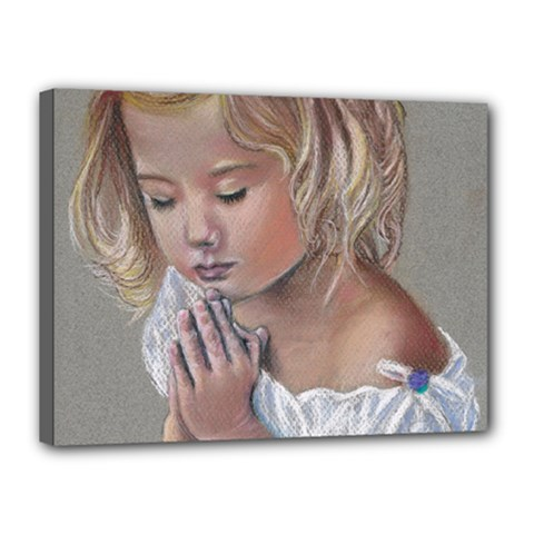 Prayinggirl Canvas 16  X 12  (framed)
