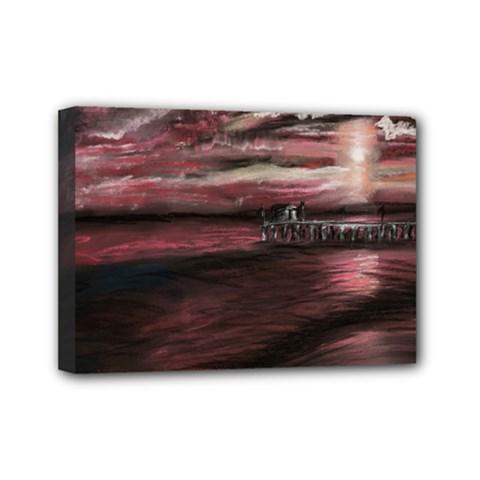 Pier At Midnight Mini Canvas 7  X 5  (framed)