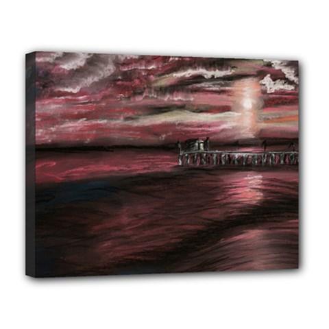 Pier At Midnight Canvas 14  X 11  (framed)