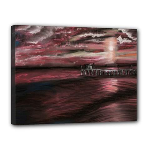 Pier At Midnight Canvas 16  x 12  (Framed)