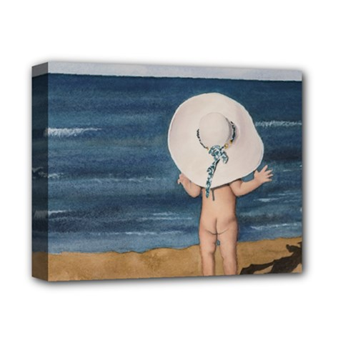Mom s White Hat Deluxe Canvas 14  x 11  (Framed)