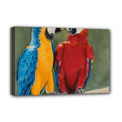 Feathered Friends Deluxe Canvas 18  x 12  (Framed)