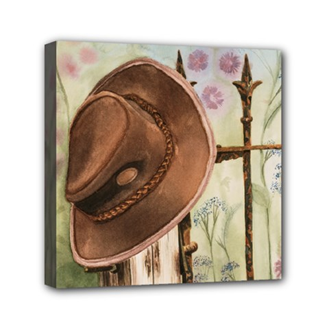 Hat On The Fence Mini Canvas 6  x 6  (Framed)