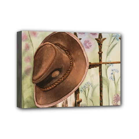 Hat On The Fence Mini Canvas 7  x 5  (Framed)