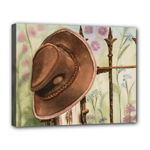 Hat On The Fence Canvas 14  x 11  (Framed)
