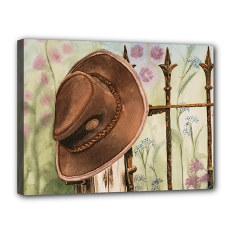 Hat On The Fence Canvas 16  x 12  (Framed)