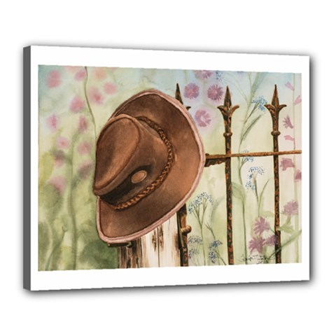 Hat On The Fence Canvas 20  x 16  (Framed)