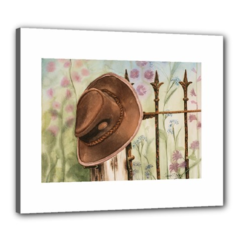 Hat On The Fence Canvas 24  x 20  (Framed)