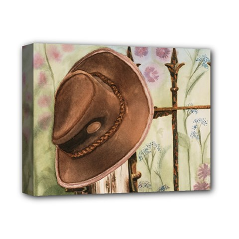Hat On The Fence Deluxe Canvas 14  x 11  (Framed)