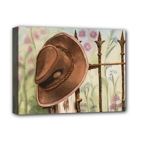 Hat On The Fence Deluxe Canvas 16  x 12  (Framed)