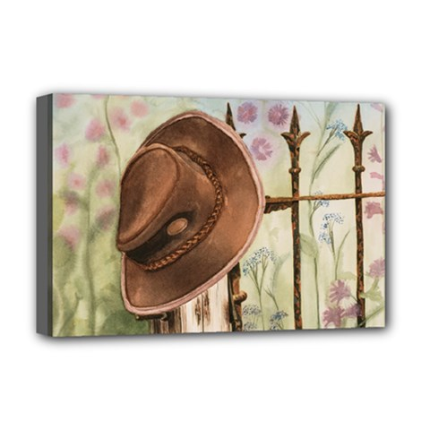 Hat On The Fence Deluxe Canvas 18  X 12  (framed)