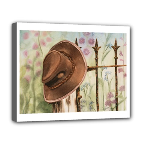 Hat On The Fence Deluxe Canvas 20  x 16  (Framed)