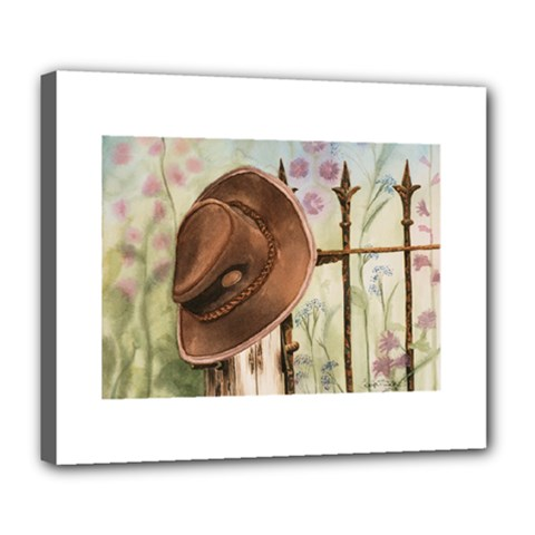 Hat On The Fence Deluxe Canvas 24  x 20  (Framed)