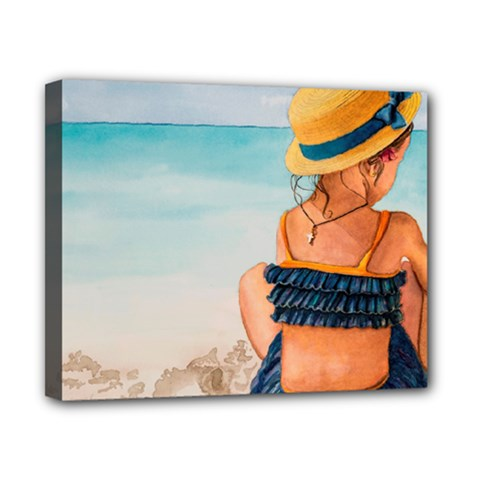 A Day At The Beach Canvas 10  X 8  (framed)