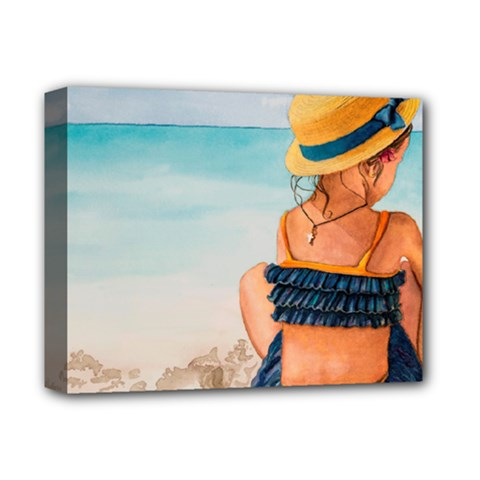 A Day At The Beach Deluxe Canvas 14  X 11  (framed)