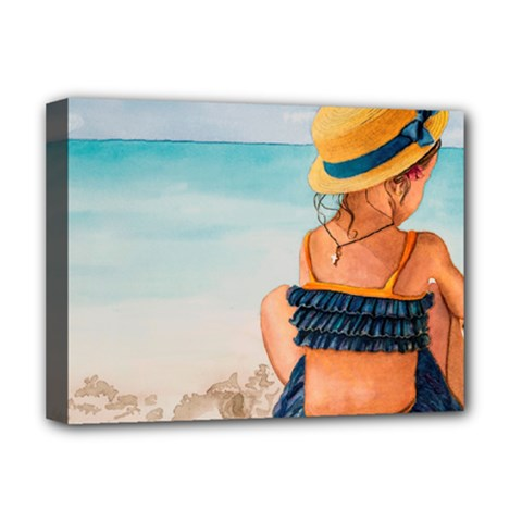 A Day At The Beach Deluxe Canvas 16  x 12  (Framed)