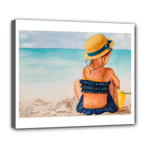 A Day At The Beach Deluxe Canvas 24  x 20  (Framed)