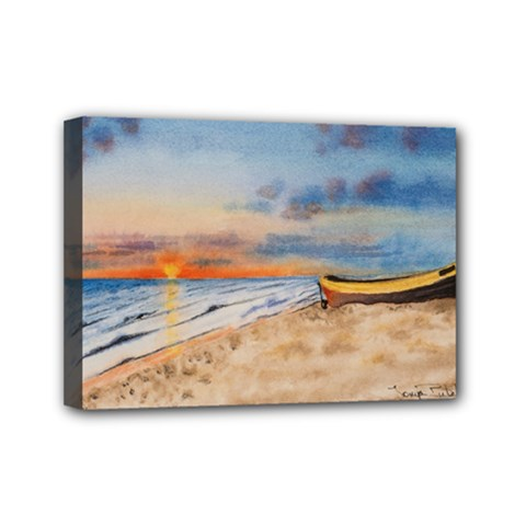 Sunset Beach Watercolor Mini Canvas 7  x 5  (Framed)