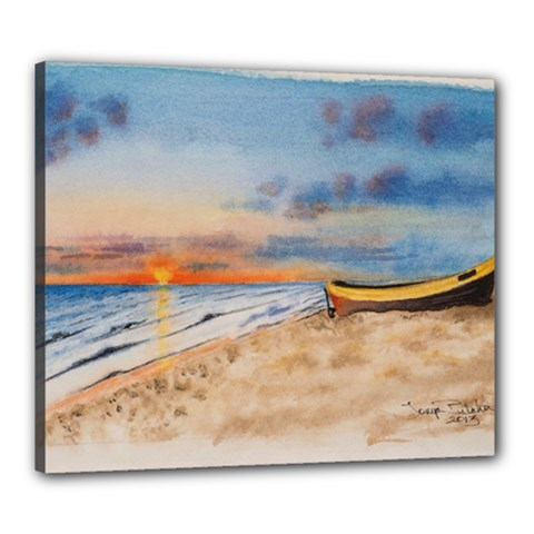 Sunset Beach Watercolor Canvas 24  x 20  (Framed)