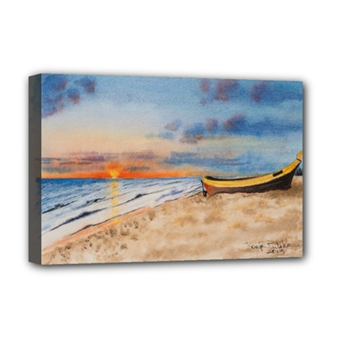 Sunset Beach Watercolor Deluxe Canvas 18  x 12  (Framed)