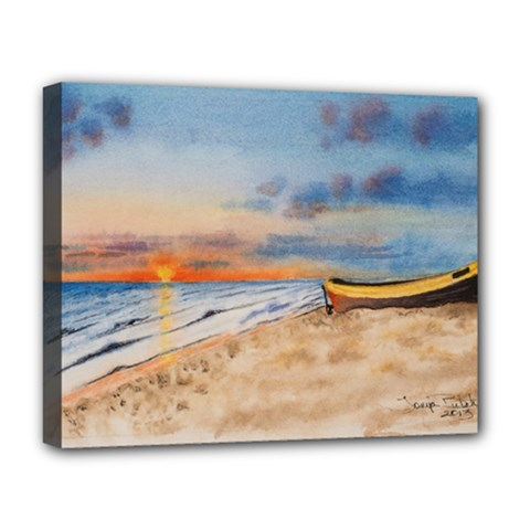 Sunset Beach Watercolor Deluxe Canvas 20  x 16  (Framed)