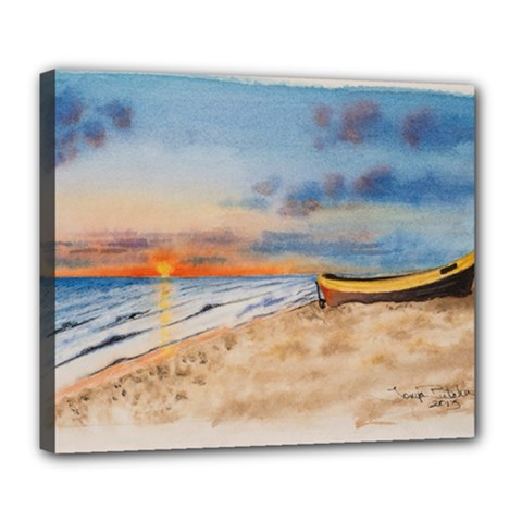 Sunset Beach Watercolor Deluxe Canvas 24  X 20  (framed)