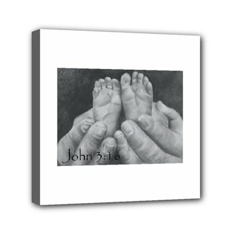 John 3:16 Mini Canvas 6  x 6  (Framed)