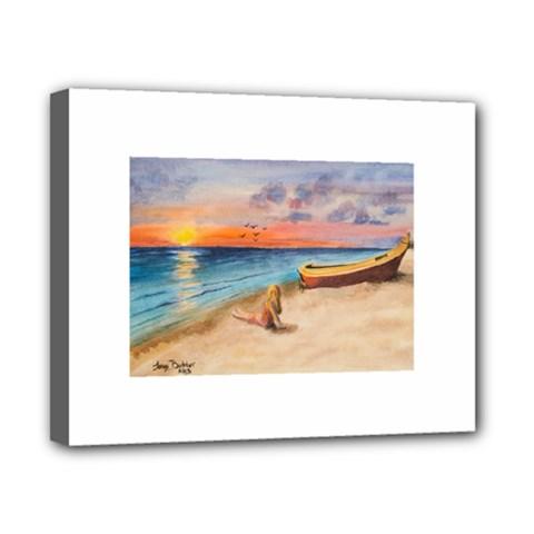 Alone On Sunset Beach Canvas 10  x 8  (Framed)
