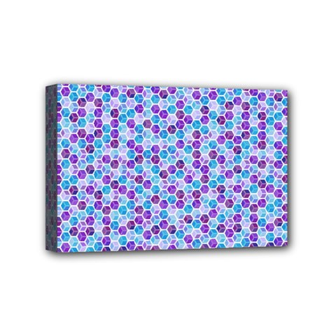 Purple Blue Cubes Mini Canvas 6  X 4  (framed)