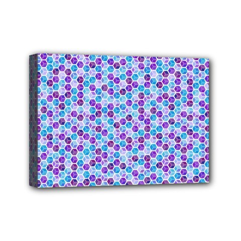 Purple Blue Cubes Mini Canvas 7  X 5  (framed)