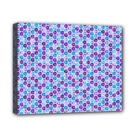 Purple Blue Cubes Canvas 10  x 8  (Framed)