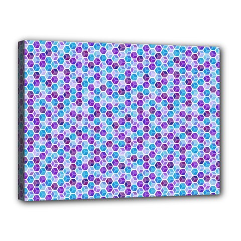 Purple Blue Cubes Canvas 16  x 12  (Framed)