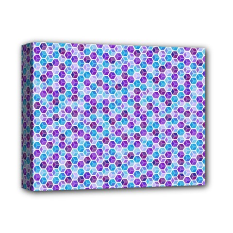 Purple Blue Cubes Deluxe Canvas 14  x 11  (Framed)