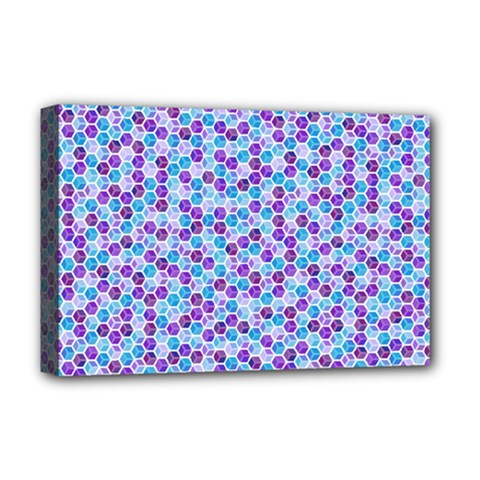 Purple Blue Cubes Deluxe Canvas 18  x 12  (Framed)