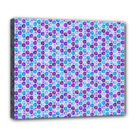 Purple Blue Cubes Deluxe Canvas 24  x 20  (Framed)