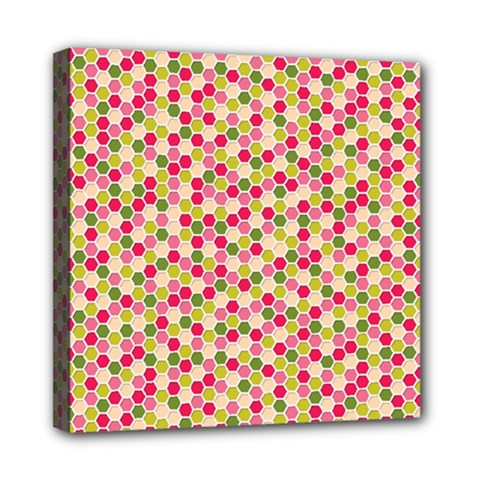 Pink Green Beehive Pattern Mini Canvas 8  x 8  (Framed)