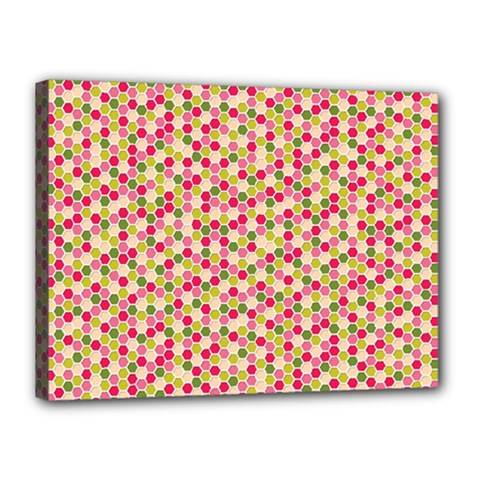 Pink Green Beehive Pattern Canvas 16  x 12  (Framed)