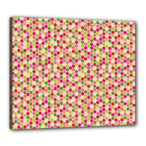 Pink Green Beehive Pattern Canvas 24  x 20  (Framed)