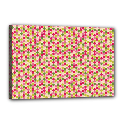Pink Green Beehive Pattern Canvas 18  X 12  (framed)
