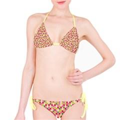 Pink Green Beehive Pattern Bikini