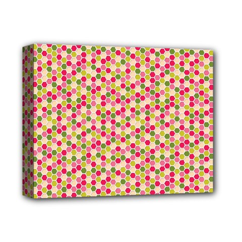 Pink Green Beehive Pattern Deluxe Canvas 14  x 11  (Framed)