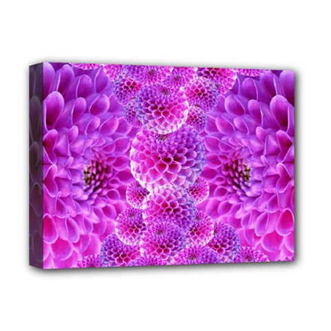 Purple Dahlias Deluxe Canvas 16  x 12  (Framed)