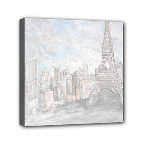 Eiffel Tower Paris Mini Canvas 6  x 6  (Framed)
