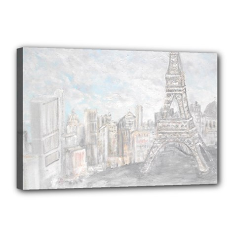 Eiffel Tower Paris Canvas 18  x 12  (Framed)