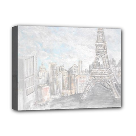 Eiffel Tower Paris Deluxe Canvas 16  X 12  (framed)