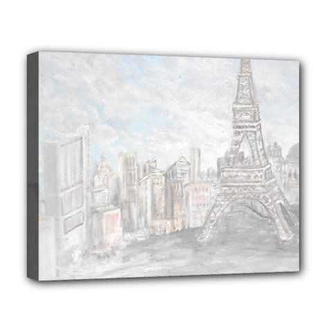 Eiffel Tower Paris Deluxe Canvas 20  x 16  (Framed)